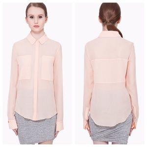 [T by Alexander Wang] 100% Silk Button Blouse
